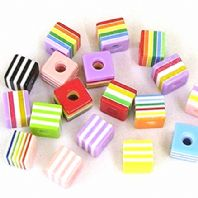 60 Solid Colour Lucite Beads 10mm Cube  Mixed
